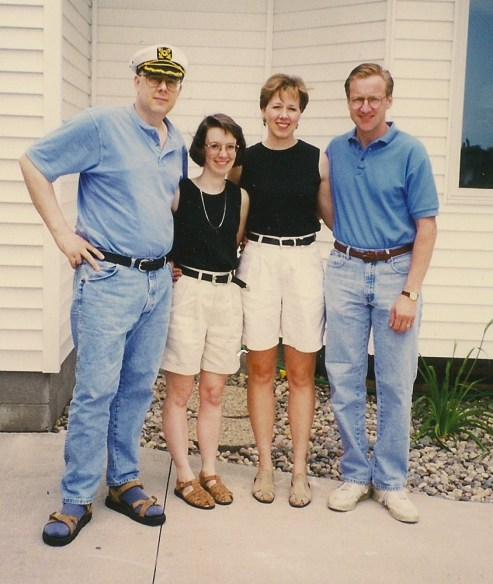 Doug & Monica Friesen, Jenny & Rob Wall going out to eat, June 1998.